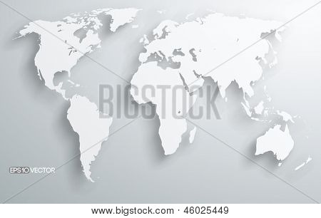 ilustração 3D do mundo vetorial com sombras vector liso e branco mapa dos continentes do mundo