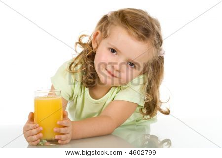 Little Girl With Fruit Juice