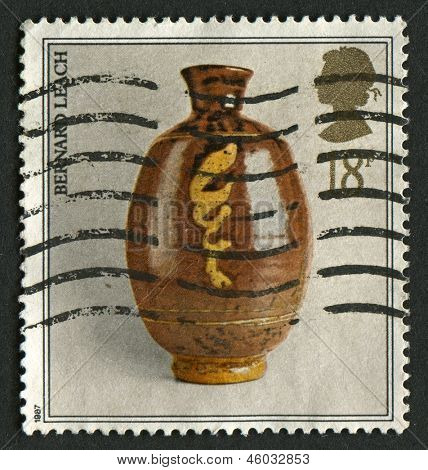 UK - CIRCA 1987: A stamp printed in UK shows image of the Studio Pottery, Pot by Bernard Leach, circa 1987.
