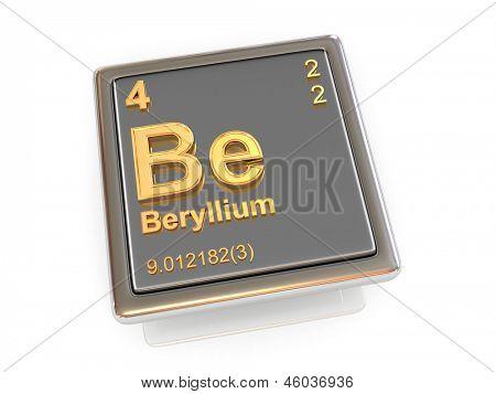 Beryllium. Chemical element. 3d poster