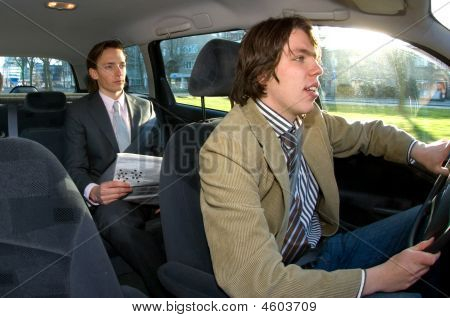 Taxi Driver And Passenger