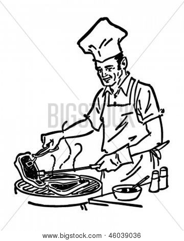 Grill Chef - Retro ClipArt-Grafik Illustration