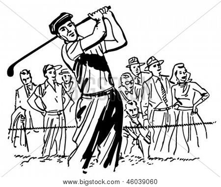 Profi-Golfer - Retro ClipArt-Grafik Illustration