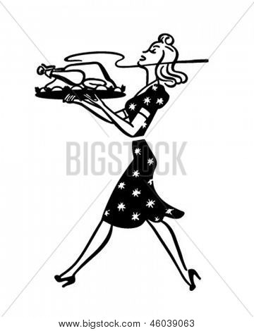 Mom Serving Turkey - Retro Clip Art Illustration