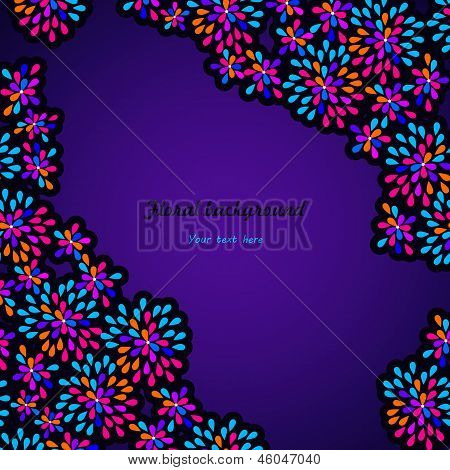 Abstract Floral Background On Mystic Violet