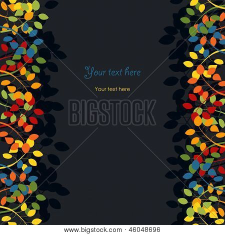 Retro Colorful Card With Leaves