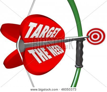 A bow and arrow with words Target the Need to illustrate serving what a customer truly wants and desires and reaching a marketing goal for a business