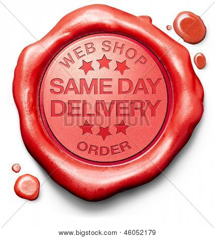 same day delivery webshop order shipping online shopping product from internet web shop package shipping red wax seal stamp icon or label