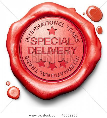 special deliverypackage shipping of online order at internet webshop shopping icon red wax stamp