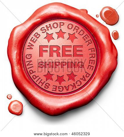 free shipping package delivery from online order at internet web shop, webshop red label icon sign or stamp