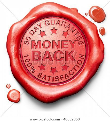 money back guarantee 30 day 100% satisfaction customer service web shop warranty on online internet order at webshop red label icon sign or stamp
