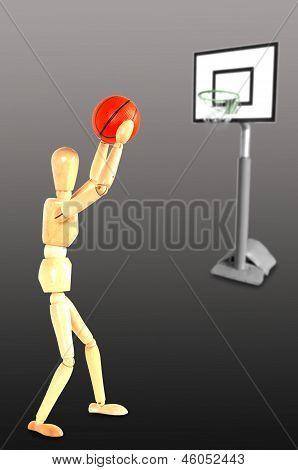 Basketball player throwing the ball