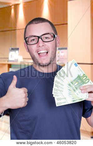 Man With Money Showing