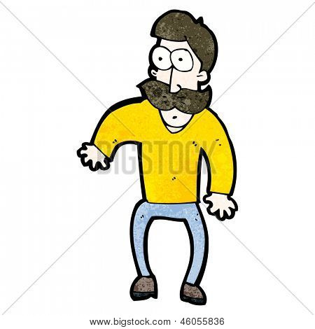 cartoon staring man with mustache