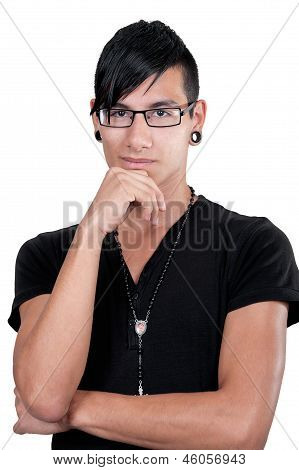 Thinking Latino Boy Portrait