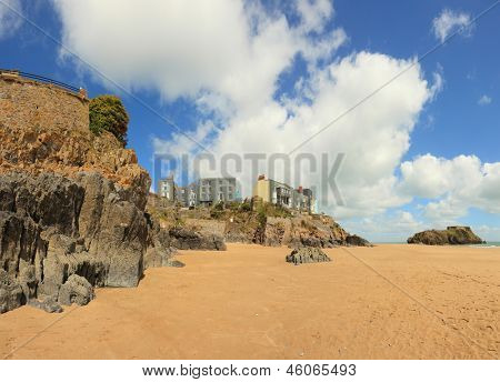 A wide angle view of one of the beaches at Tenby, West Wales, with St Catherine's island on the right.