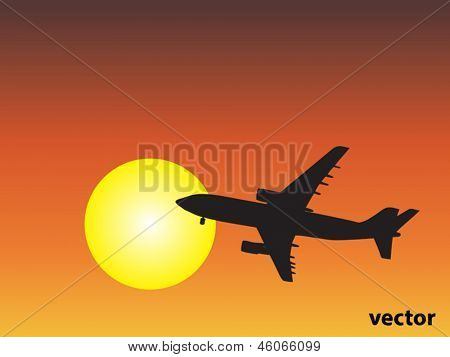 Vector concept or conceptual black plane,airplane aircraft silhouette flying over sky at sunset,sunrise background
