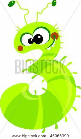 Number 3 happy and crazy cartoon smiling caterpillar poster