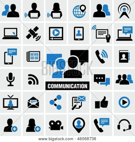Communication & Media Icons Set