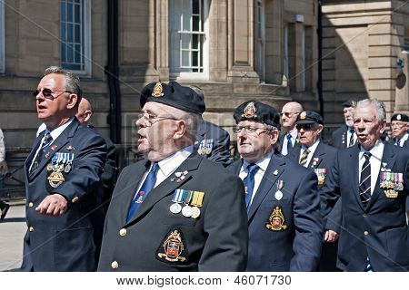 World War 2 Veterans Marching In Liverpool, Uk