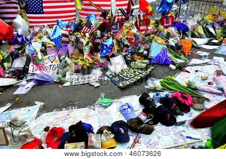 Memorial on Boyston Street in Boston after bombings with written statements