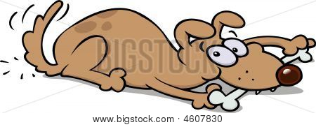 A happy dog chewing on a bone wagging his tail. Vector image poster