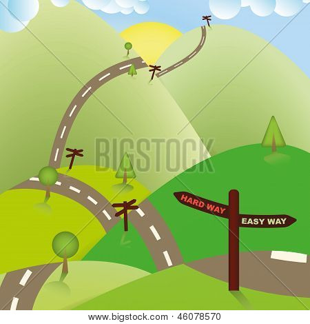 Road Sign Ways, Hard or Easy. Business Concept.