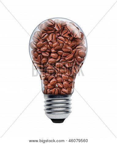 Coffee seeds in a light bulb