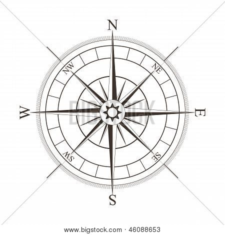 Black compass rose isolated on white