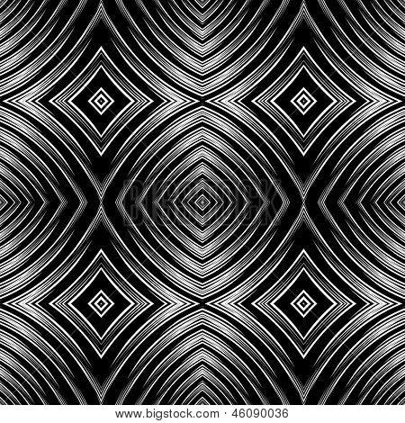 Seamless pattern in op art design. Vector graphic. No gradient.