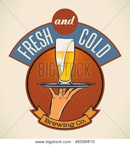 Retro styled label of lager beer. Good as a template of advertisement. Editable layered vector.