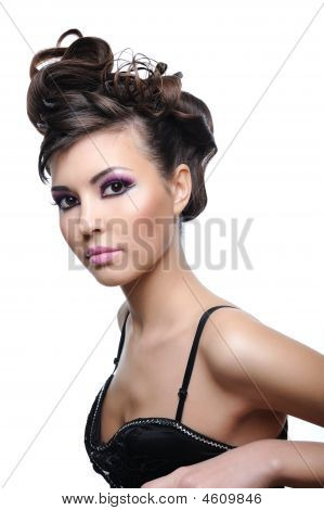 Beauty Young Woman With Style Hairstyle