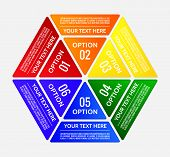 Hexagonal graphic table divided into colorful triangles with copy-space poster