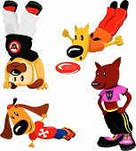 cartoon dogs in sports wear. one dog plays  poster