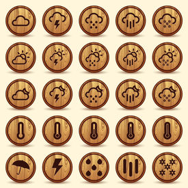 Wood Weather Icons in Brown Background with wood texture