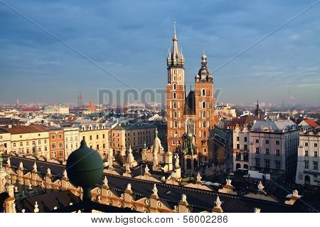 St. Mary's church and Sukiennice in Krakow poster