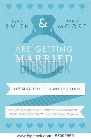 Wedding invitation blue ring style