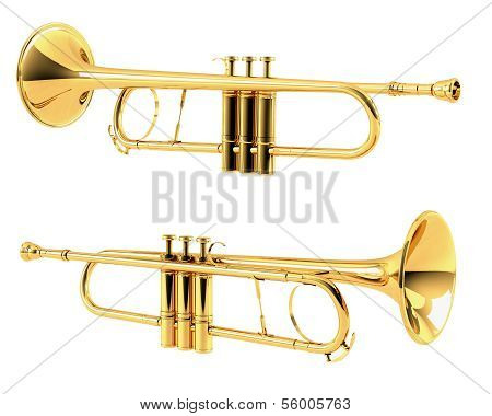 Golden trumpet isolated. Multiple angles of view
