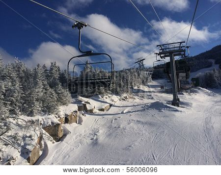 View to ski slopes