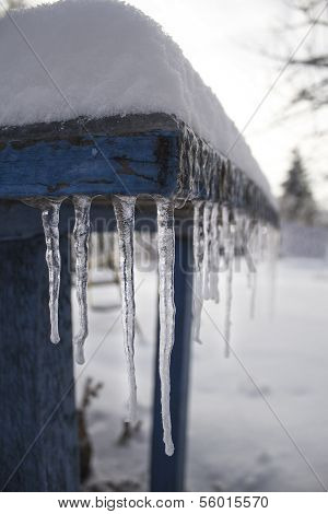 Icicles hang from the table