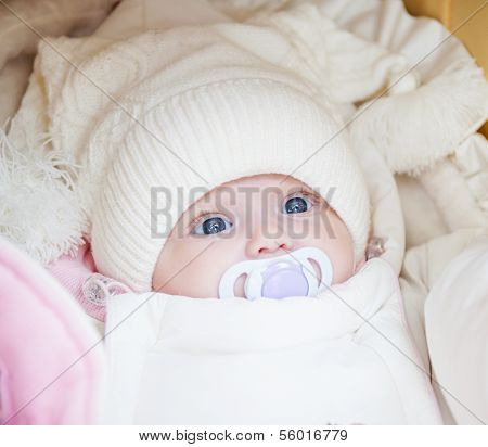 Adorable Baby Girl Wearing Winter Hat