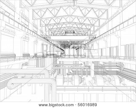 Gantry crane in a factory environment. Wire-frame