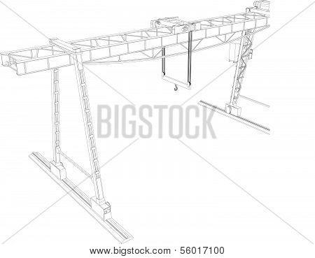 Gantry crane. Wire-frame