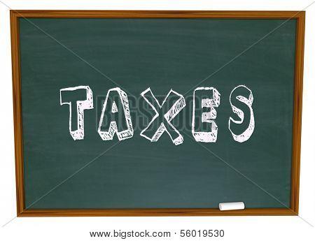 Taxes Word Chalkboard Figuring Taxation Income Tax Return