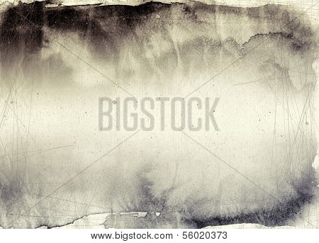 Abstract ink painting on grunge paper texture - Sepia tones background