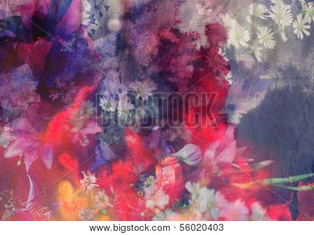 Romantic floral background combined with ink paper texture
