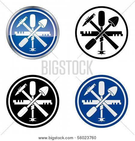 Glazier - Traditional Craftsmen's Guild Vector Symbol, four variations