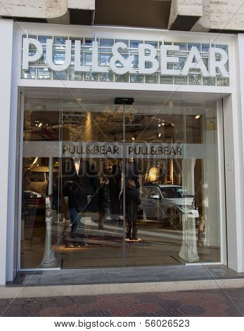 VALENCIA, SPAIN - DEC 27: A Pull & Bear retail clothing store in Valencia, Spain on December 27, 2013. Pull & Bear started in 1991 and currently has 850 retail clothing stores internationally.