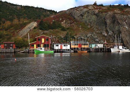 Fishing: Docks, Cabins, Boats On Quidi Vidi Lake Harbor, Newfoundland.
