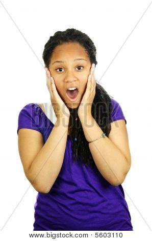 Teenage girl surprised